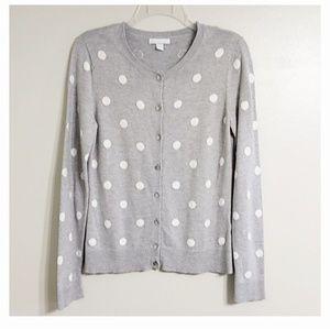 New York & Company Gray White Dot Cardigan M